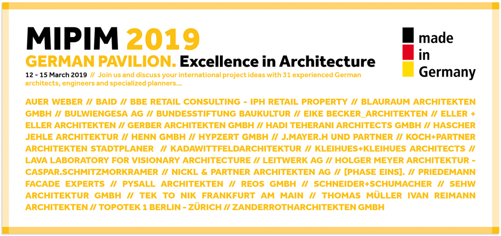 MIPIM 2019 Deutscher Pavilion mit TEK TO NIK Architekten